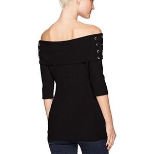 Xoxo ribbed off shoulder pullover sweater E